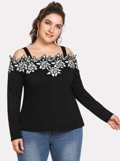 Plus Embroidered Flower Applique Cold Shoulder Top