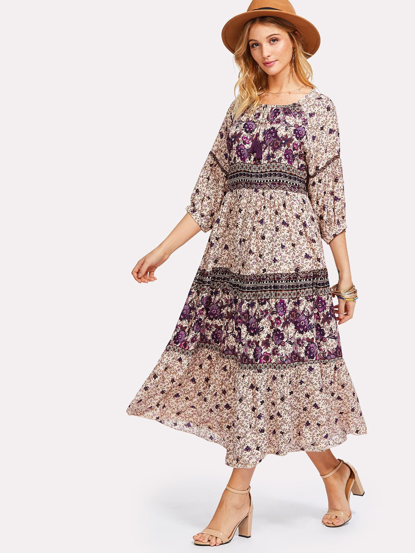 Tassel Tied Neck Flower Print Dress tied neck geo print flare dress