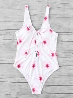 Calico Print Backless Swimsuit