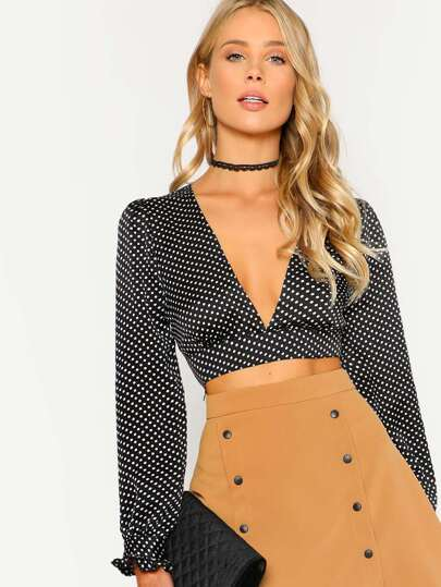 Bow Tied Back Crop Polka Dot Top