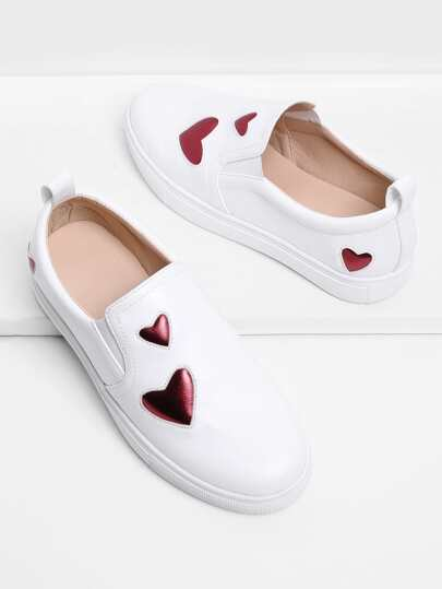 Heart Decorated PU Slip On Plimsolls