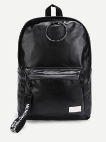 Ring & Pocket Front PU Backpack