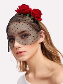 Flower Decorated Mesh Headband