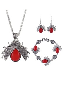 Red Seven Star Ladybug Necklace Set