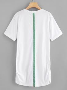 Letter Tape Detail Shirred Side Dress