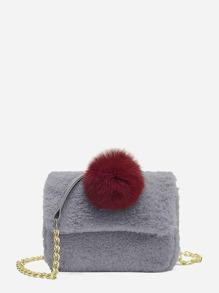 Pom Pom Decorated Faux Fur Chain Bag
