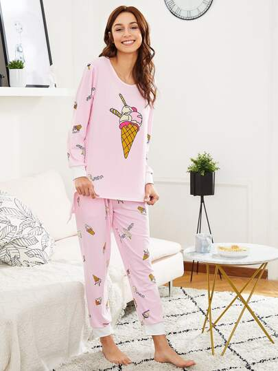 Ice Cream Print Tee & Pants PJ Set
