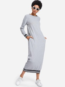 Contrast Stripe Trim Marled Dress