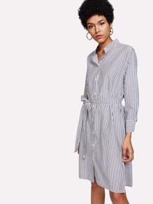 Slit Side Striped Shirt Dress