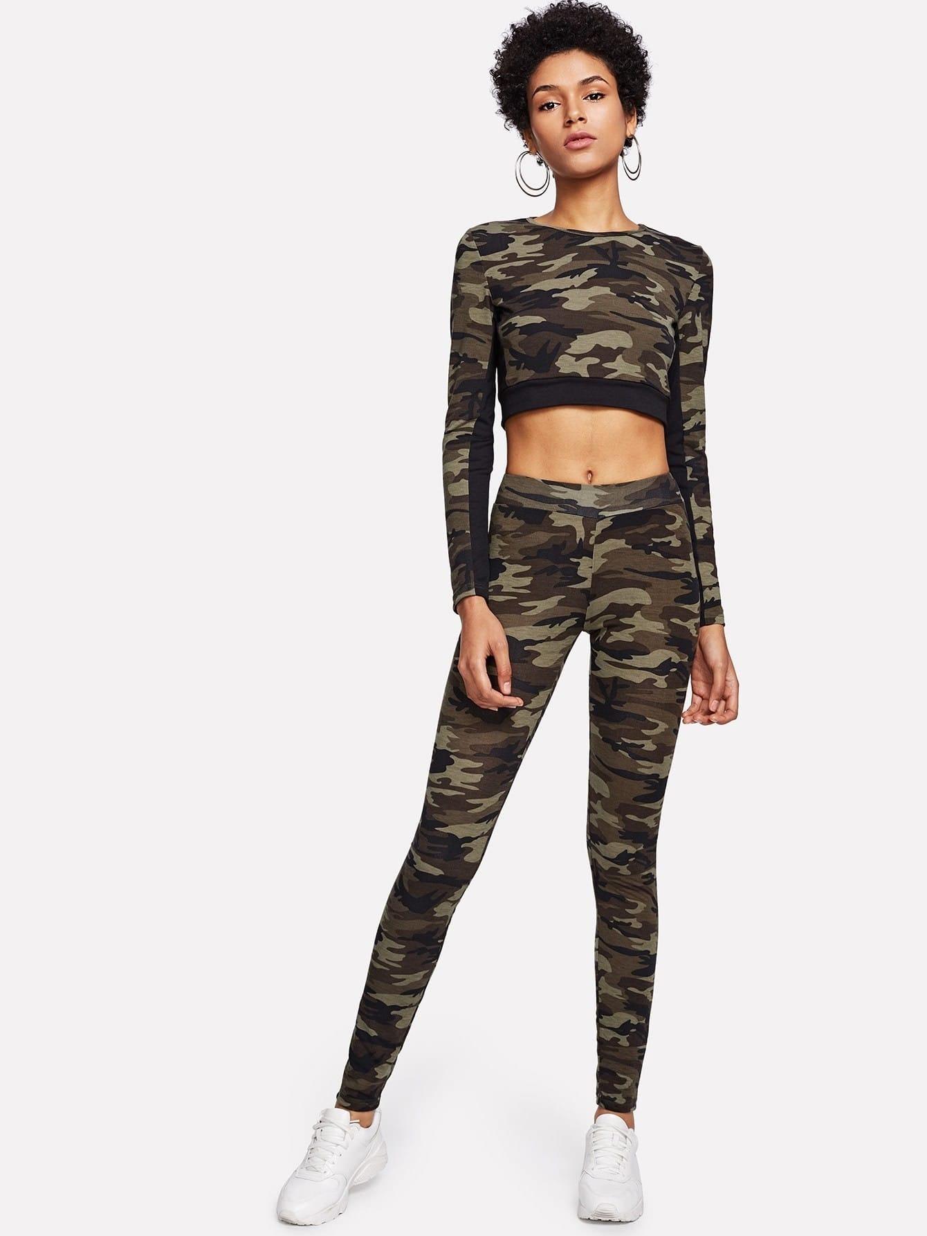 Camo Print Crop Top & Leggings Set letter print tape crop top with leggings set