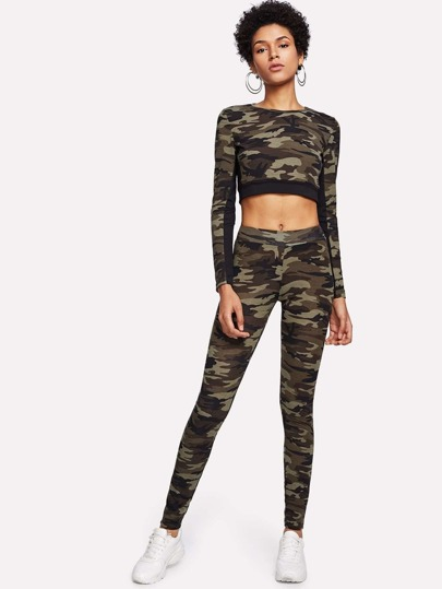 Crop Top mit Camomuster und Leggings Set