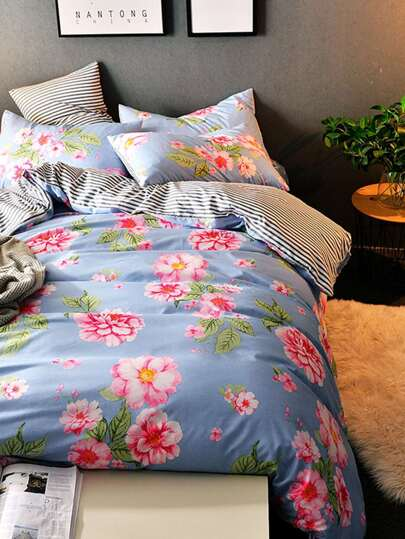 2.0m 4Pcs Flower & Striped Print Duvet Cover Set