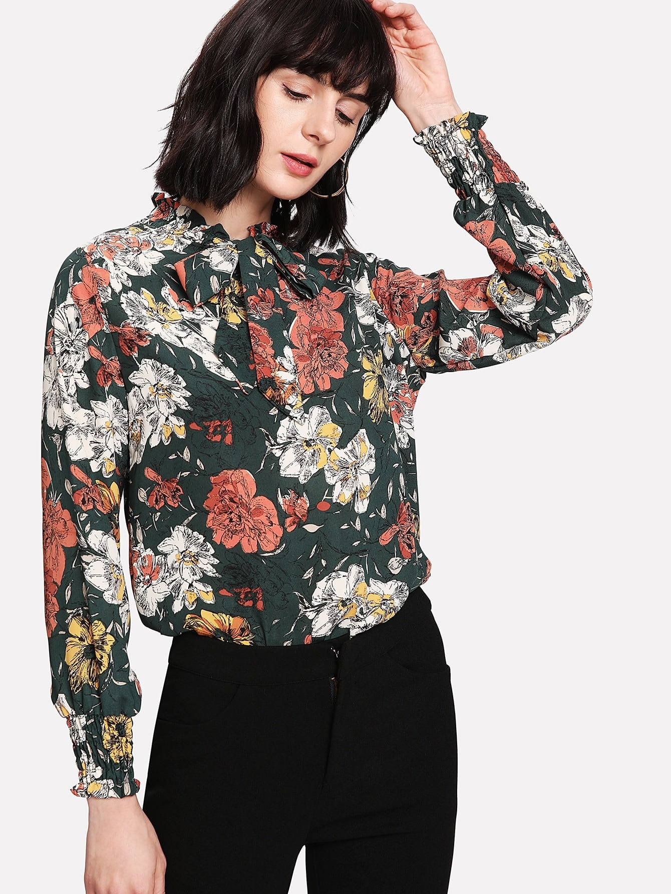 все цены на Flower Print Tie Neck Blouse