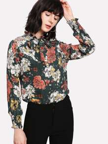 Flower Print Tie Neck Blouse