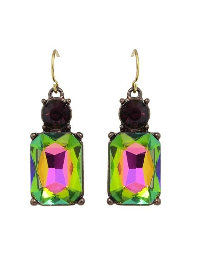 Colorful Crystal Square Female Drop Earrings