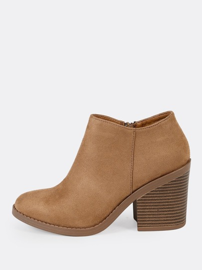 Round Toe Chunky Heel Ankle Boots LIGHT TAN