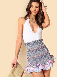 Striped Tiered Ruffle Hem Smock Skirt