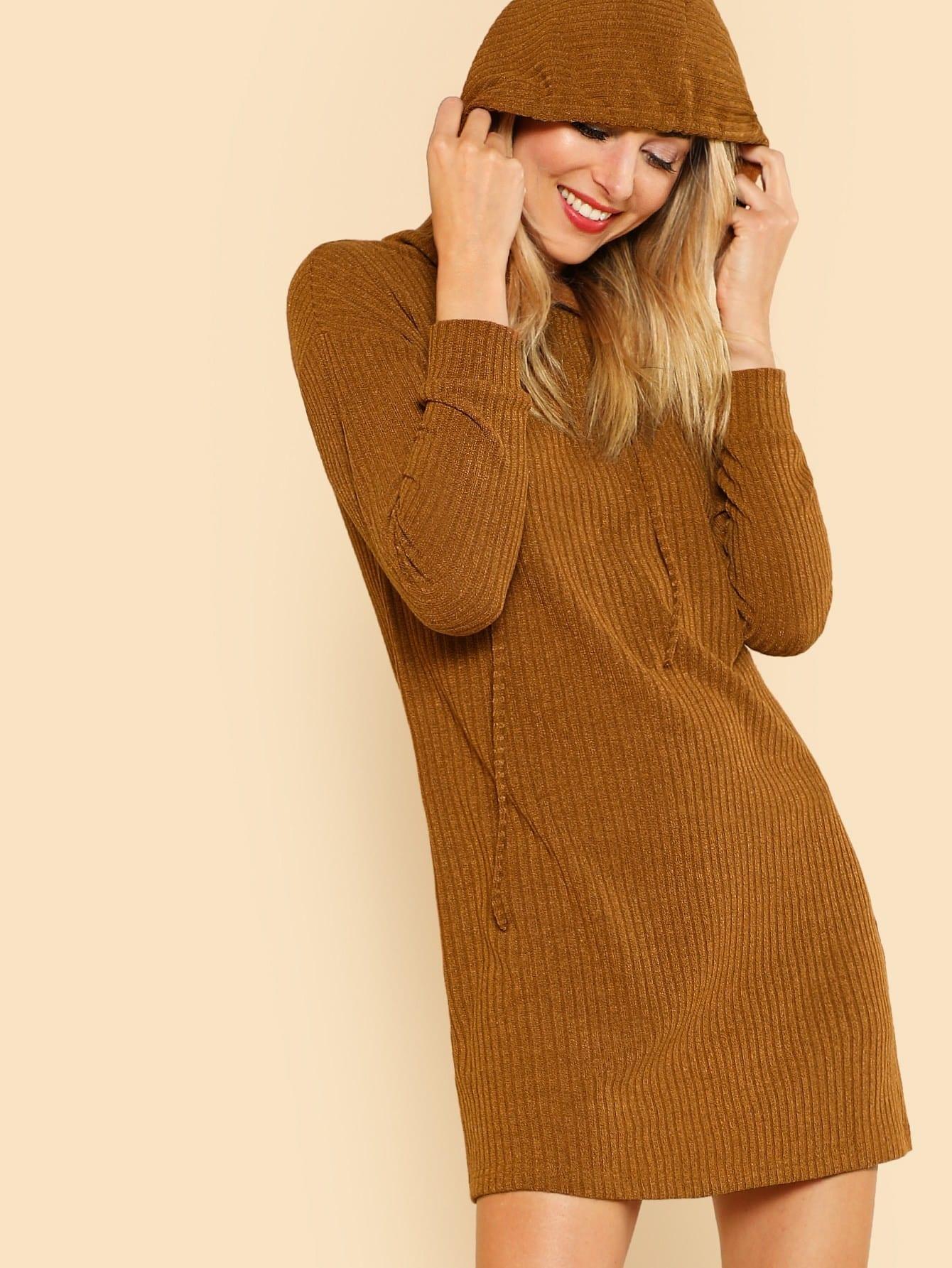 Solid Rib Knit Hoodie Dress dressmmc171214701