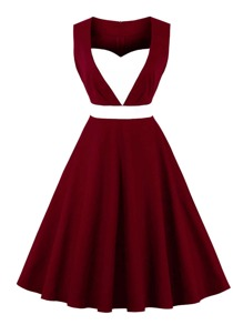 Contrast Panel Sweetheart Neckline Circle Dress
