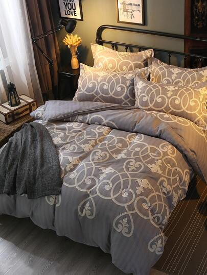 1.5m 4Pcs All Over Pattern Print Bedding Set
