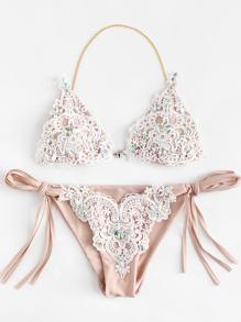 Lace Overlay Rhinestone Bikini Set