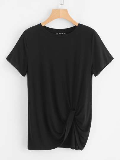 Twist Hem Solid T-shirt
