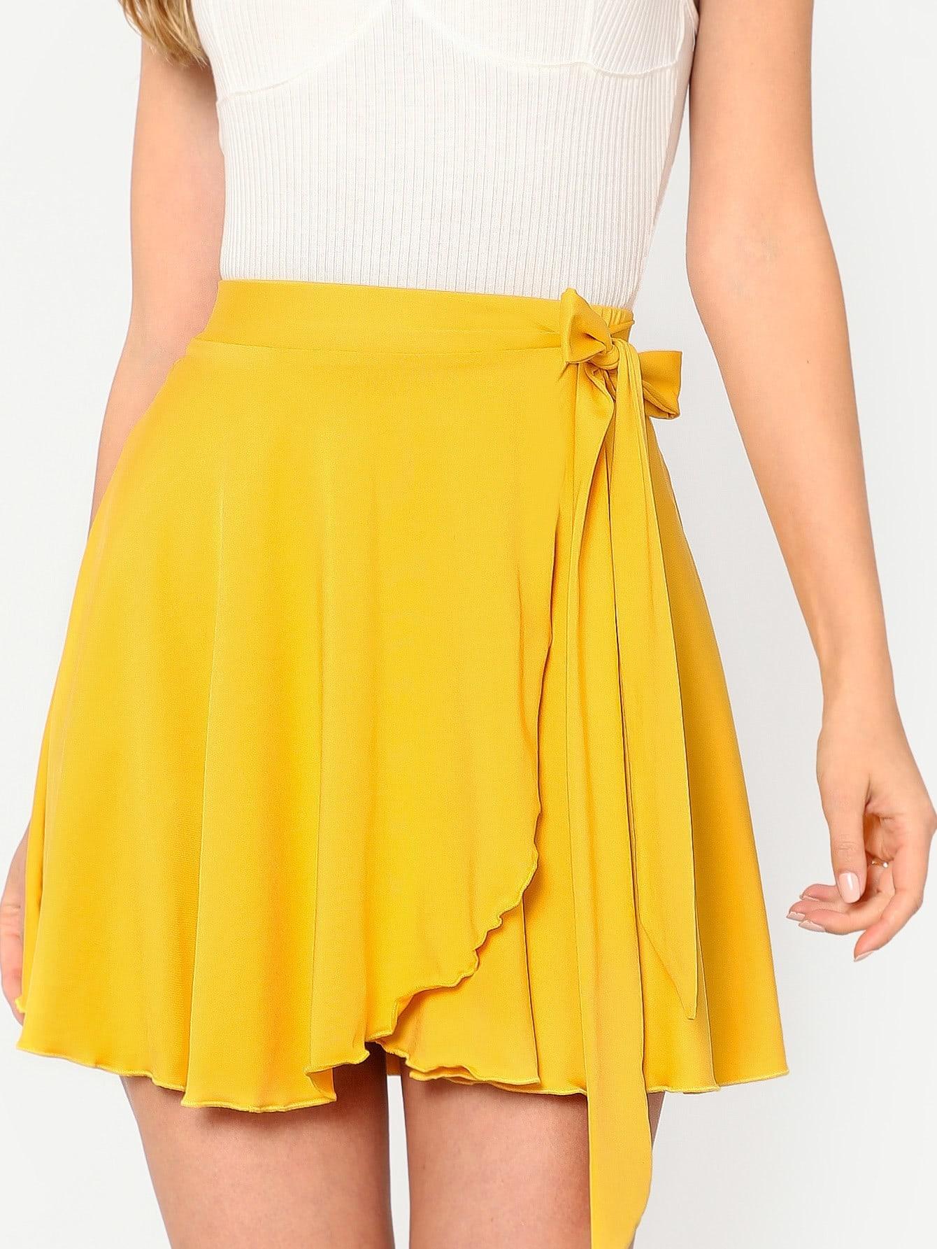 Elastic Waist Self Belted Overlap Skirt self belted ruffle waist pinstripe skirt