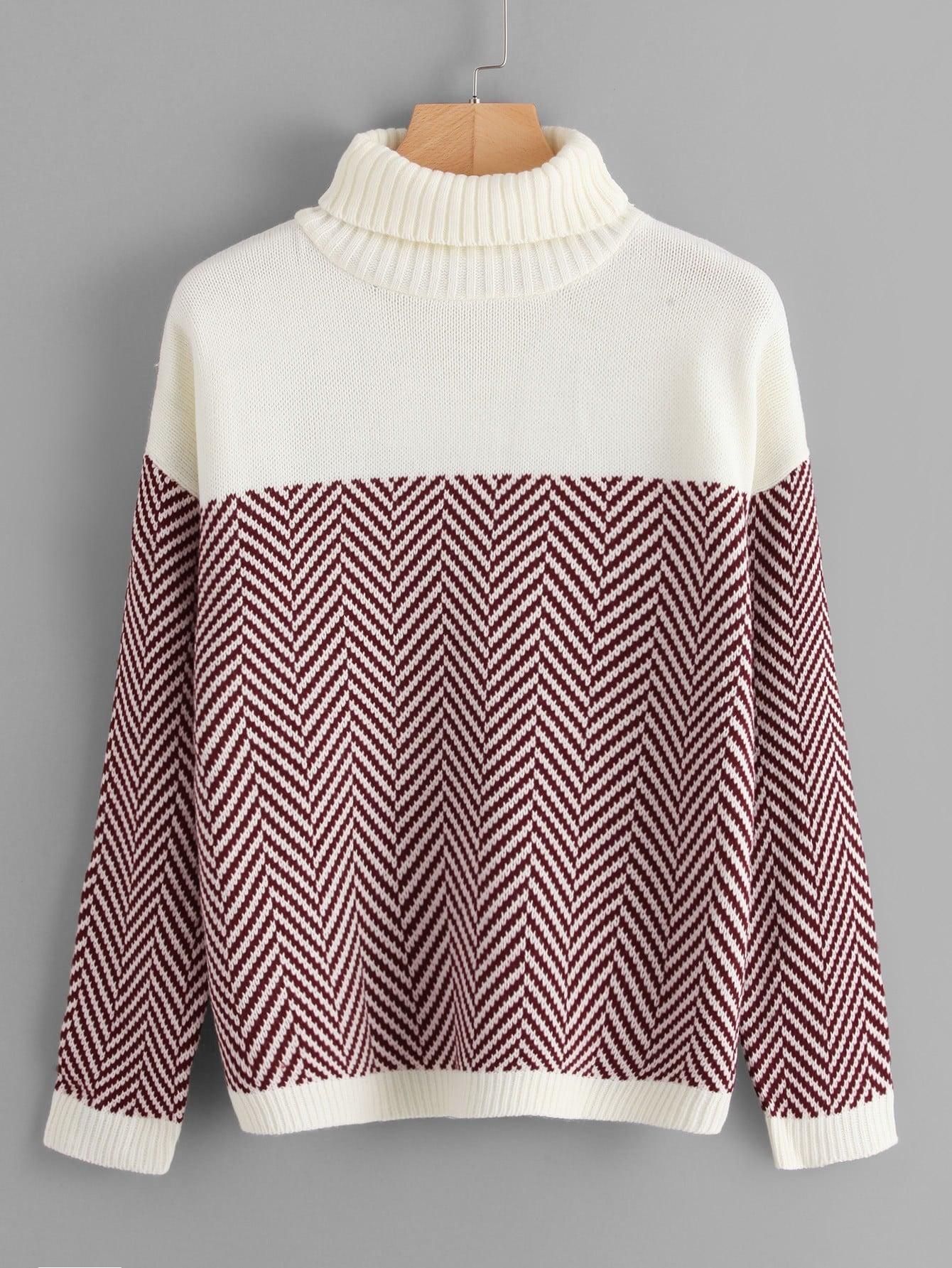 Chevron Pattern Drop Shoulder Jumper two tone drop shoulder sweatshirt