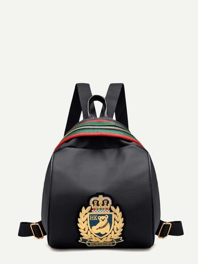 Badges Detail Stripe Panel Backpack