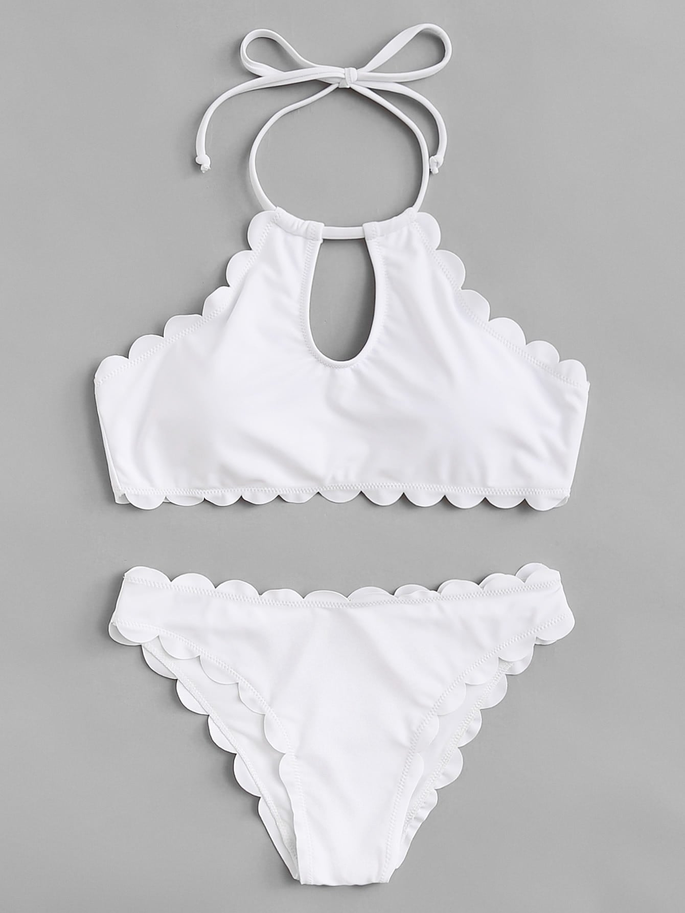 Keyhole Halter Scalloped Bikini Set цена и фото