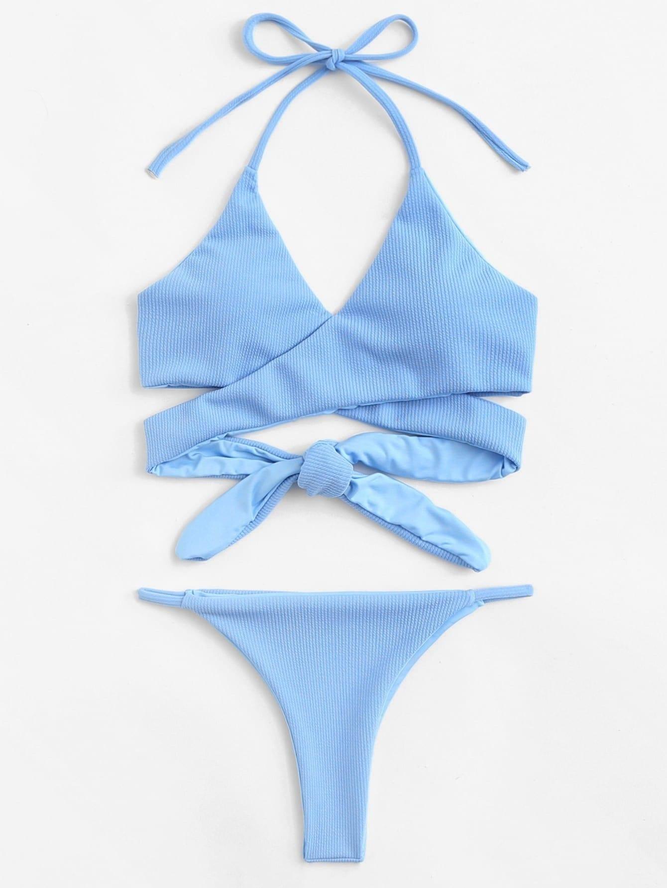 Wrap Knot Halter Bikini Set halter patterned wrap bikini