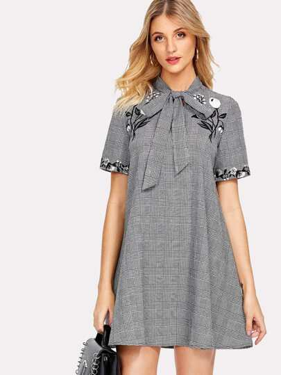 Tied Neck Embroidery Plaid Swing Dress