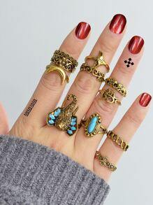 At-Gold Vintage Turquoise Elephant Ring  11-Pieces Set