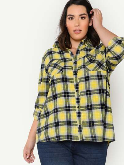 Pocket Patched Roll Tab Sleeve Check Shirt