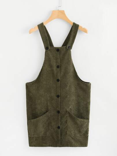 Corduroy Button Front Overall Dress