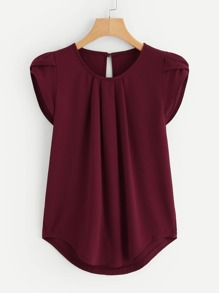 Gathered Neck Curved Hem Blouse