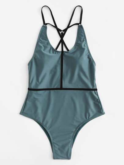 Contrast Straps Swimsuit