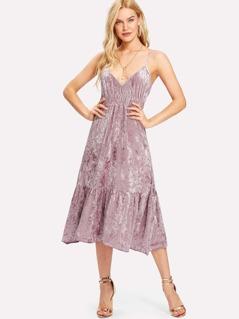 Shirred Waist Ruffle Hem Velvet Cami Dress