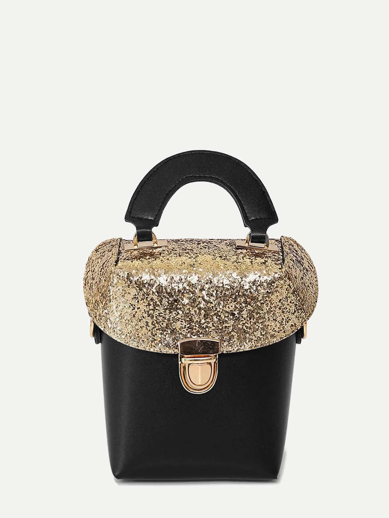 Two Tone Sequin Decorated Box Bag two tone drop shoulder sweatshirt