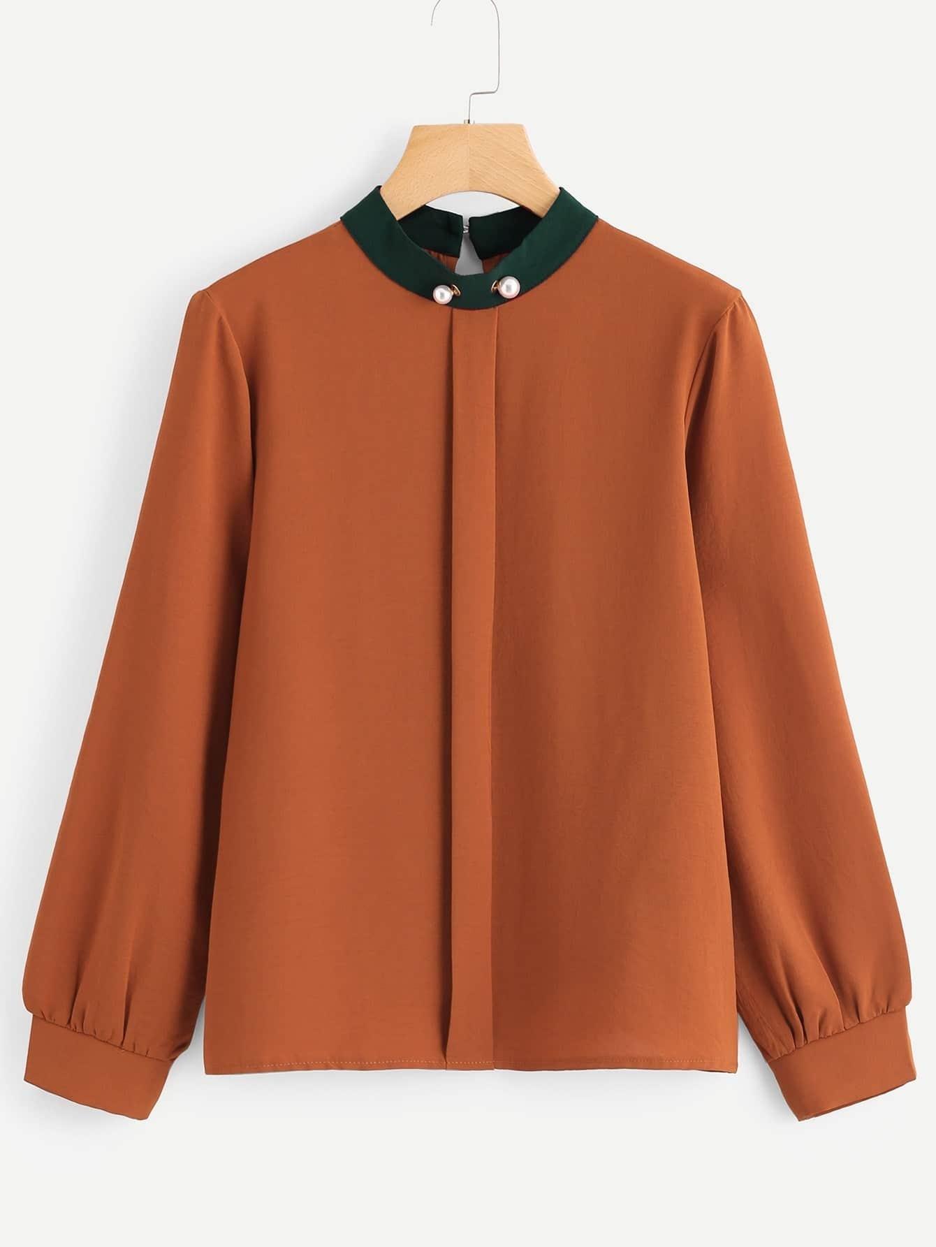 Купить Модная блуза с контрастным воротником, null, SheIn