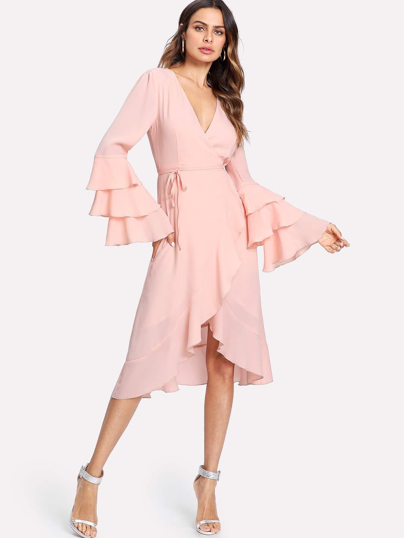 Layered Sleeve Surplice Wrap Ruffle Dress layered frill sleeve surplice wrap top