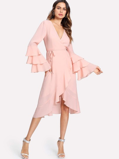 Layered Sleeve Surplice Wrap Ruffle Dress