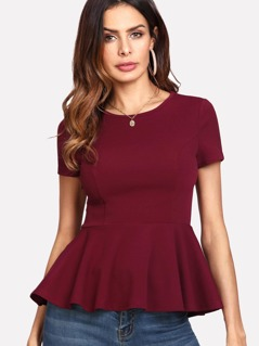 Zipper Side Peplum Top