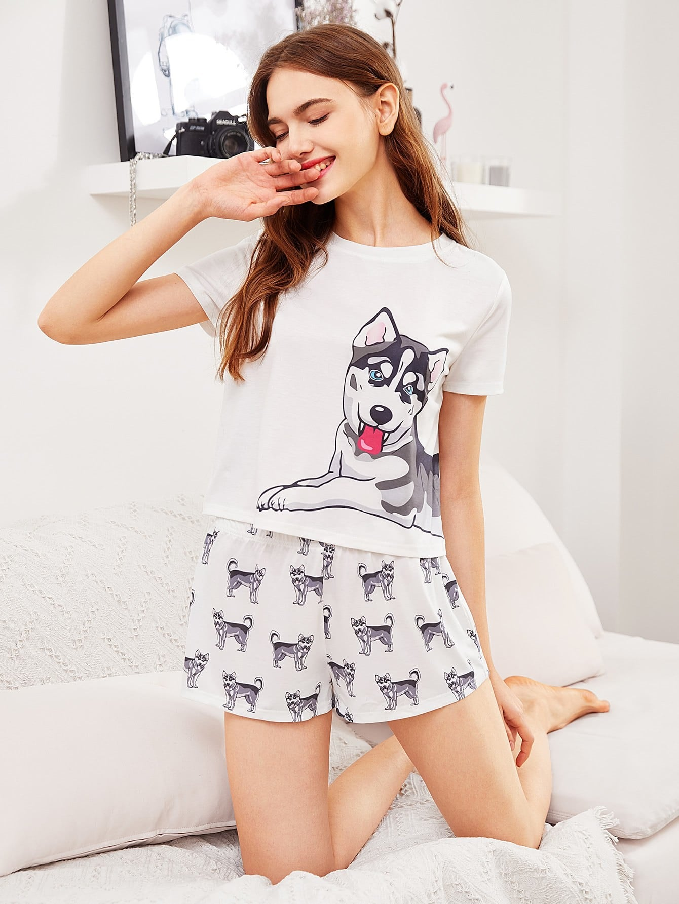 Dog Print Tee & Shorts Pajama Set heart print tee and striped shorts pajama set