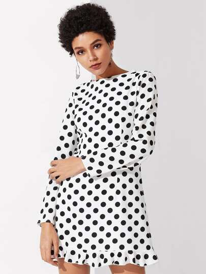 Princess Seam Detail Ruffle Hem Polka Dot Dress