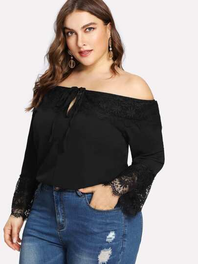 Lace Contrast Off Shoulder Tee