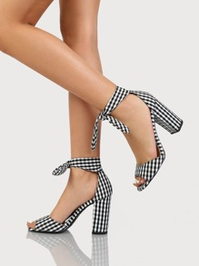 Gingham Ankle Tie Heels BLACK WHITE