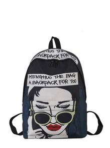 Girl Print Pocket Front Backpack