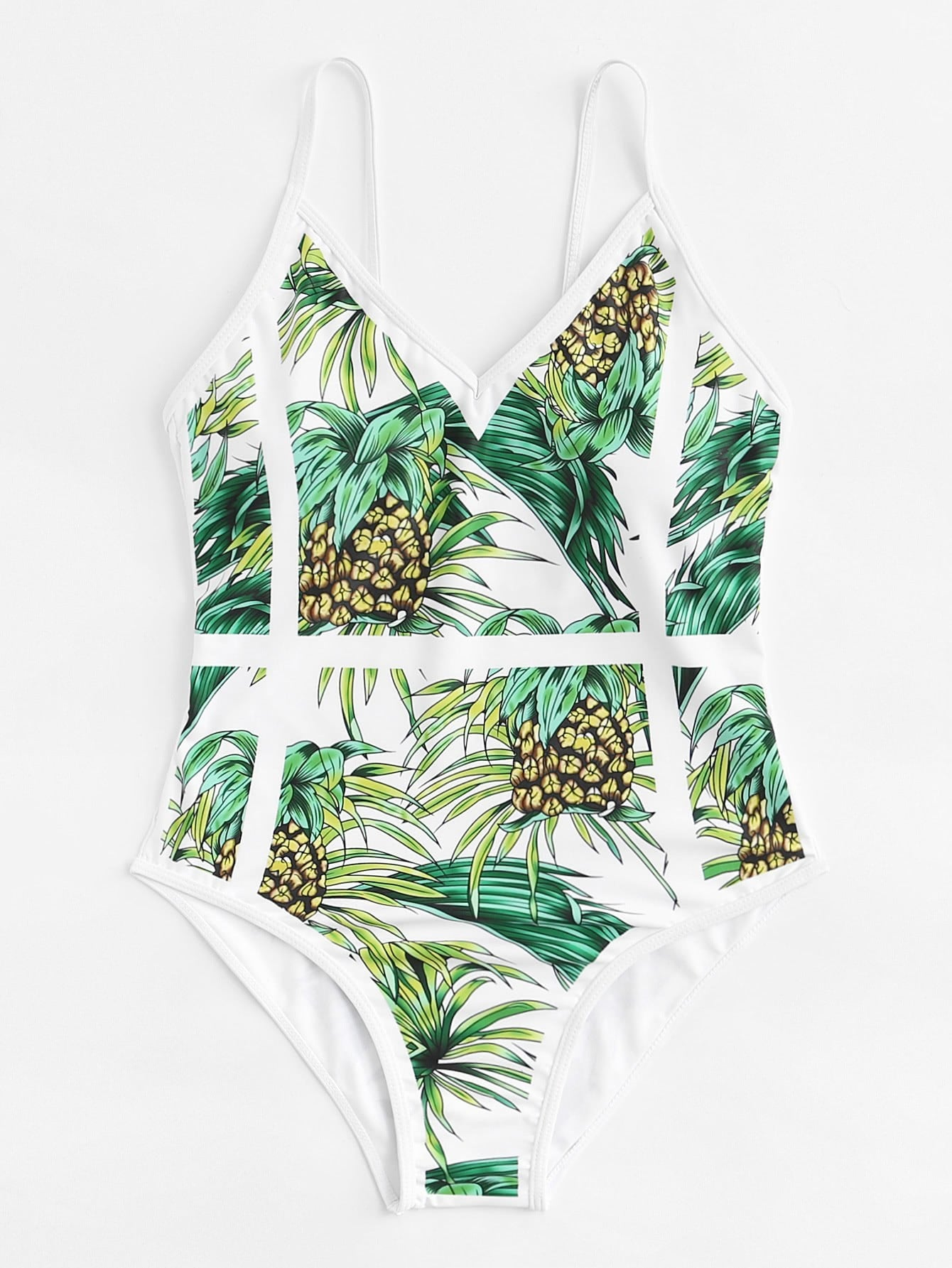 Fruit Print Caged Swimsuit caged back swimsuit