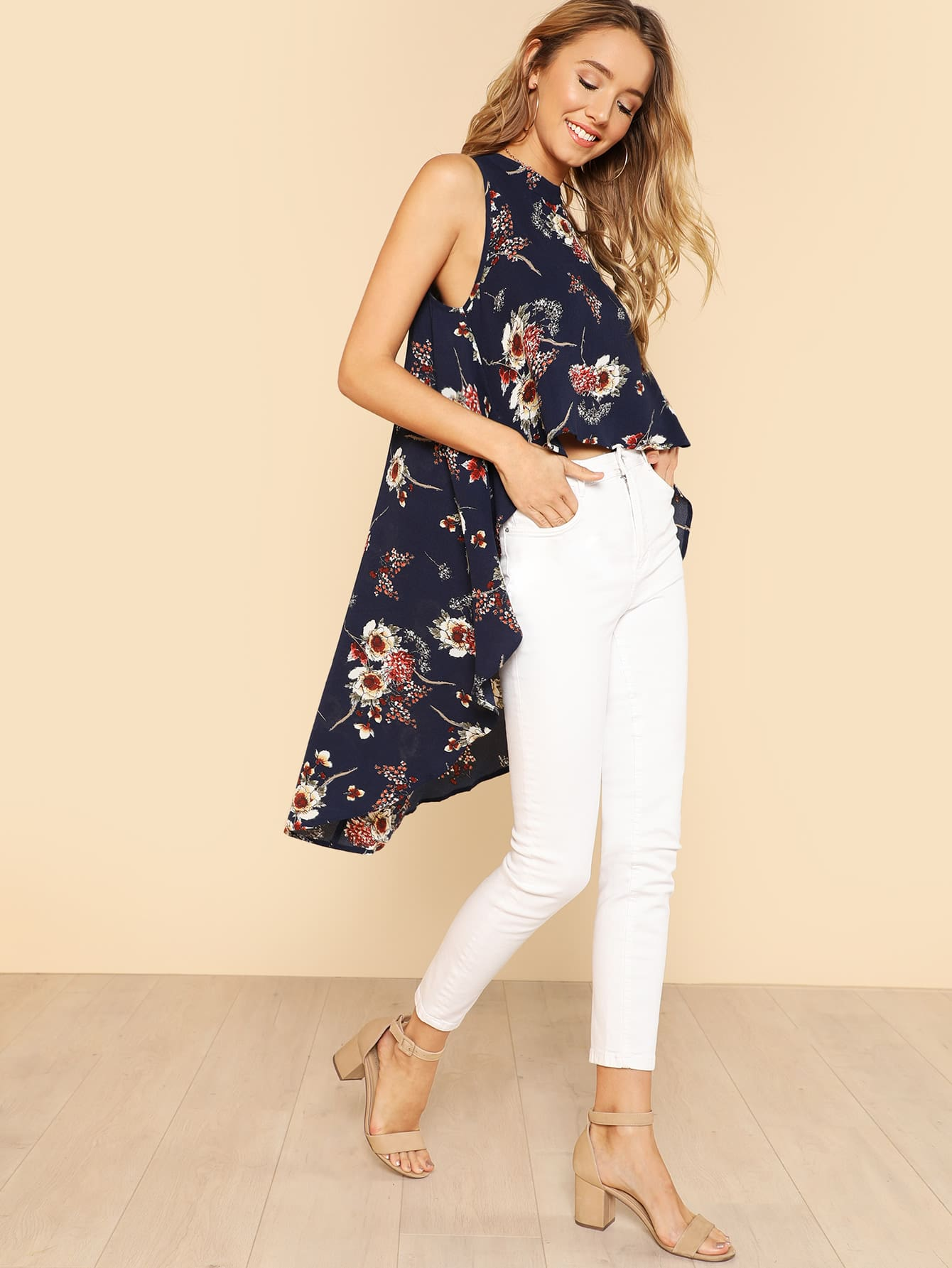 Flower Print High Low Sleeveless Top kikkoman соус барбекю teriyaki с медом 250 мл